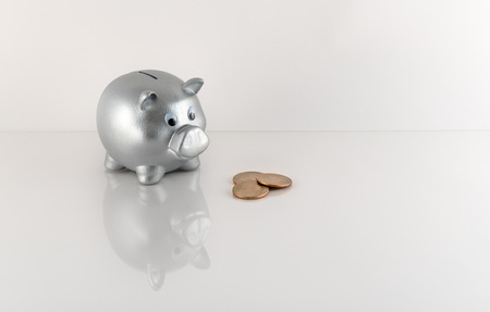 silver coins: Silver Metallic Piggy Bank with Coins on Acrylic