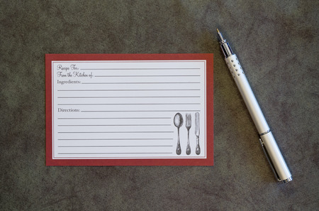 recipe card: Blank Recipe Card and Pen on Deep Green Background