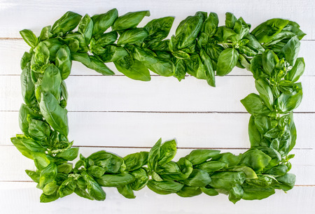 Fresh Basil Wreath on White Rustic Boards