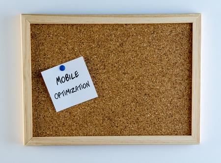 cliche: Mobile Optimization Pinned on Cork Bulletin Board