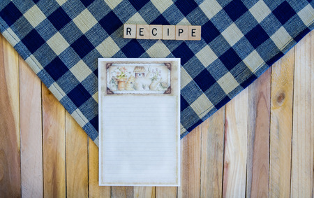 recipe card: Recipe Card on Navy Check Napkin and Wood Planks