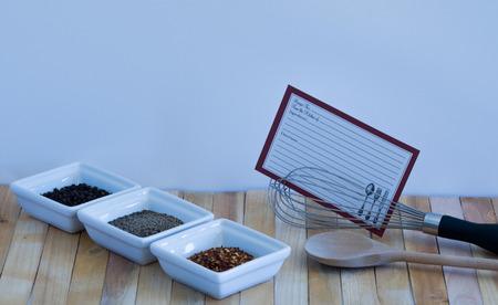 Pepper Variety-Recipe Card-Whisk-Wooden Spoon Scene