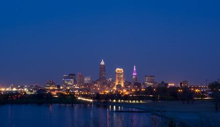 Cleveland Ohio Skyline at Twilight Reklamní fotografie