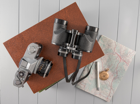 Vintage Camera and Binoculars Still Life Scene Top Town Perspective