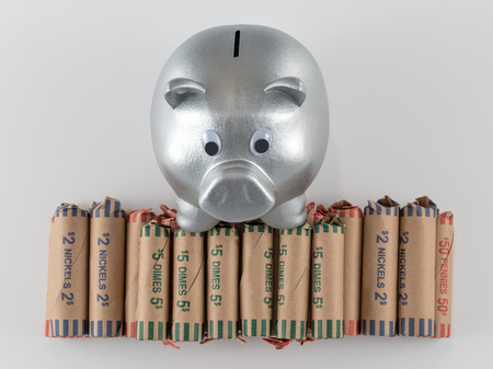 silver coins: Silver Metallic Piggy Bank with Wrapped Coins Stock Photo