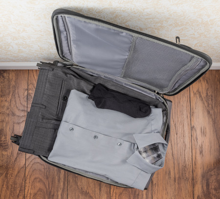 and carry on: Mens Packed Carry On Suitcase Top Down Perspective