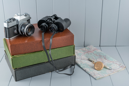 antique binoculars: Vintage Camera and Binoculars Still Life