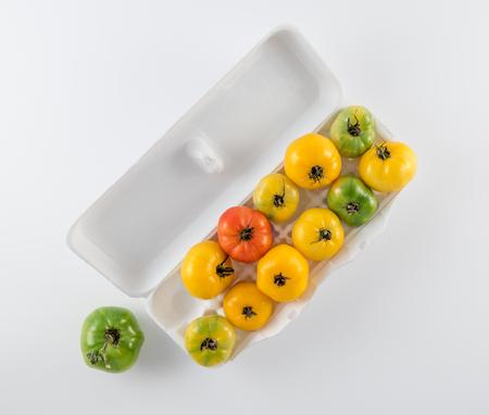 Tomato Variety in Egg Carton on White Background Reklamní fotografie