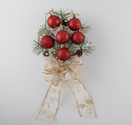 bough: Pine Bough Christmas Decoration on White Background
