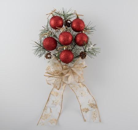 Pine Bough Christmas Decoration on White Background