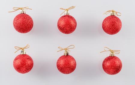 Red Glitter Christmas Balls on White Background