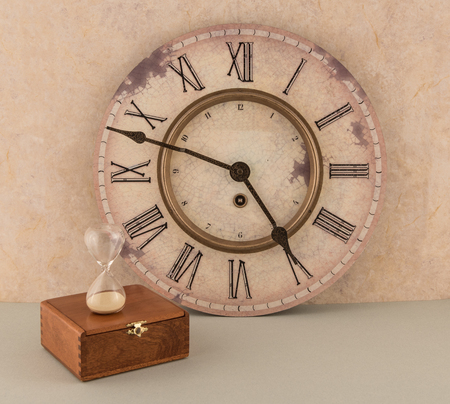 Clock and Hourglass with Old Wooden Box
