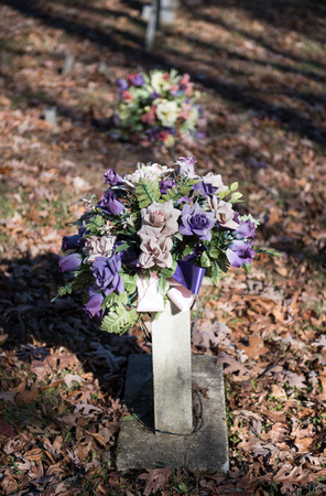 Old Gravesites With Flowers