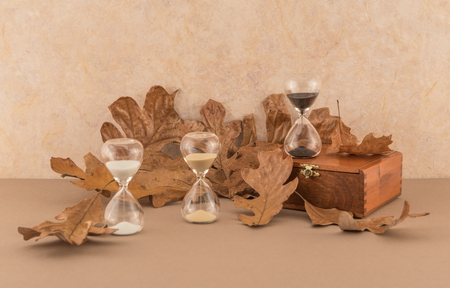 hourglasses: Hourglasses and Autumn Leaves