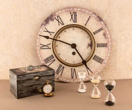 Wall Clock, Hourglasses, Wristwatch and Pocketwatch with Old Box