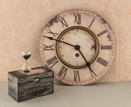 Wall Clock and Hourglass With Old Box Reklamní fotografie