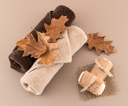 Autumn Spa with Artisan Soap and Luxury Towels Reklamní fotografie