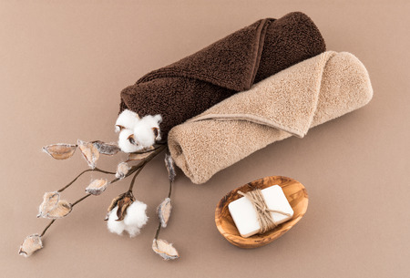 Spa Luxury Towels and Handmade Artisan Soap with Cotton Branch