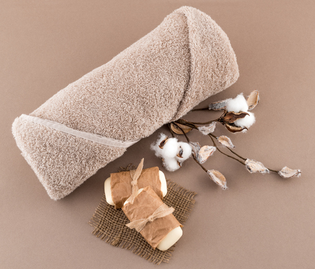 soothe: Spa Luxury Towel Artisan Soap and Cotton Branch
