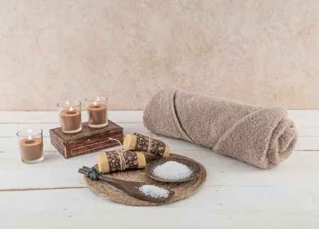 soothing: Spa and Bath Essentials in Soothing Earth Tones Stock Photo