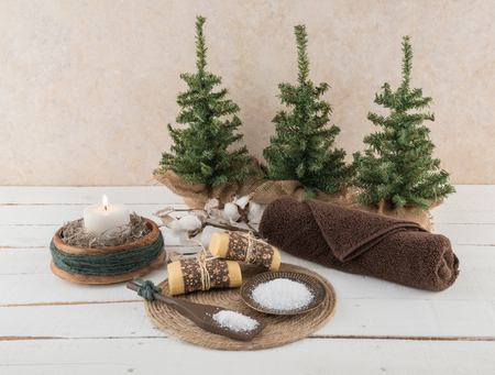 Spa and Bath Essentials with Rustic Candle and Cotton Branch