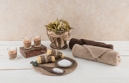 Spa and Bath Essentials with Glowing Candles