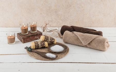 Spa and Bath Essentials with Candlelight Reklamní fotografie