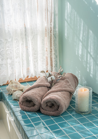 Luxury Master Bath Escape with Spa Towels and Candle