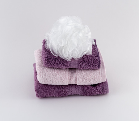 Lavender and Soft Pink Towels with Bath Pouf