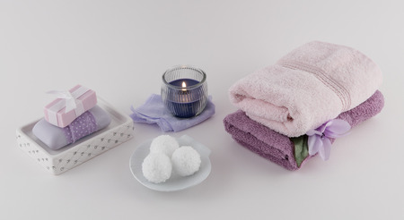 Bath Bombs and Bath Soap with Towels and Aromatherapy Candle Reklamní fotografie