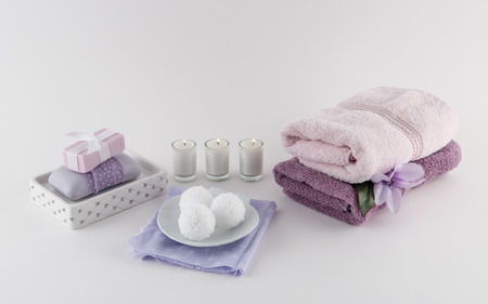 Luxury Bath Soap and Bath Bombs with Towels and Candles