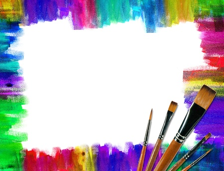 A Color brush frame on canvas photo