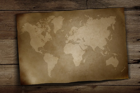 vintage world map on wooden background Stock Photo - 9209985