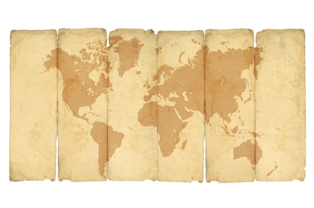 fold: crumpled vintage world map on white