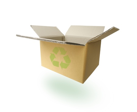 recycle paper box with green recycle sign. paths inside Stock Photo - 10225232