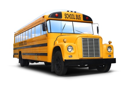 back to school background: car school bus yellow isolated with path