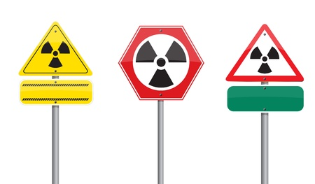 3 warning  nuclear on Road sign Stock Photo - 10263840