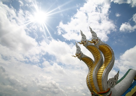 king of thailand: 3 King of nagas on sky Stock Photo