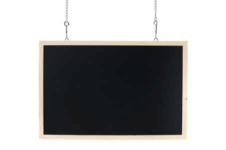 empty blackboard with wooden frame and chain photo