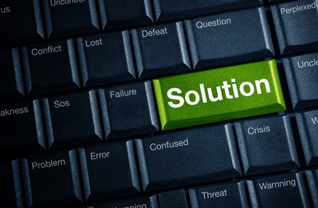 solution concept with green keyboard button  photo