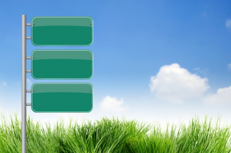 3 Blank Green Road Sign on sky Stock Photo - 10281291