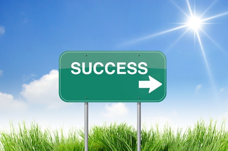 success  road sign on sky Stock Photo - 10281288