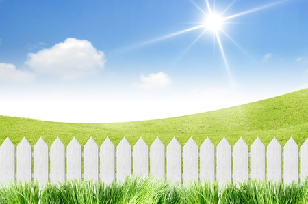 pasture fence: White fence with grass on clear blue sky