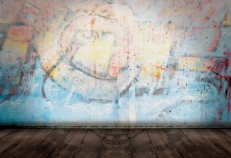 pared rota: Graffiti de pared en el estilo de la habitaci�n de grunge