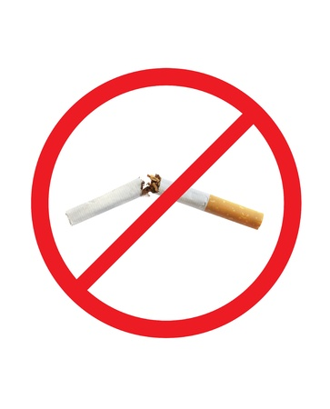 cigarette broken in red sign Stock Photo - 10288988
