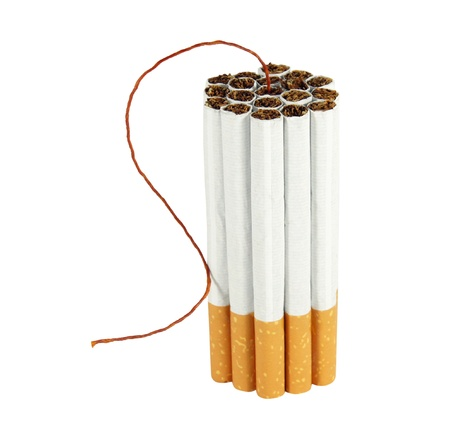 anti tobacco: cigarette bomb isolated on white background  Stock Photo