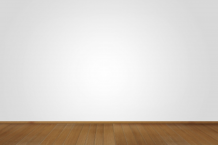 Blank white room with wooden floor
