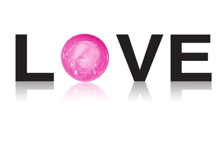 love condom on whiet background photo