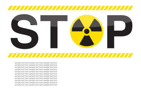 chemical warfare: stop nuclear symbols warning on white background