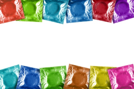 condoms colors frame on white